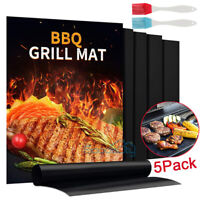 """Miracle Grilling Mat Set Of /""""4/"""" Non-Stick Grill Mats PLUS /""""1/"""" LARGE Cookie Sheet"""