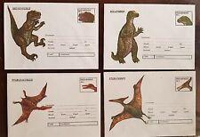 ROUMANIE préhistoire, animaux préhistoriques 4 entiers postaux en 1994