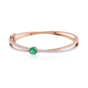 Real 1.70 TCW Emerald Diamond Bracelet Solid 18k Rose Gold Handmade Fine Jewelry