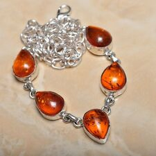 "Handmade Baltic Faux Amber Gemstone 925 Sterling Silver Necklace 19.5"" #N00696"