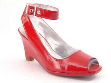 New AEROSOLES Women Leather Peep Toe High Wedge Heel Slingback Pump Shoe Sz 9 W