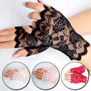 1Pair Driving Gloves Women Sun Protection Summer Lace Gloves Fingerless Gloves
