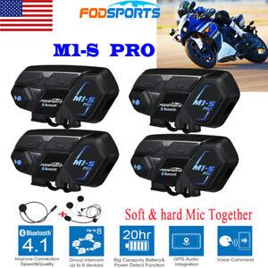 4x M1-S 2KM Motorcycle Intercom Bluetooth Helmet Headset Interphone 8 Riders GPS