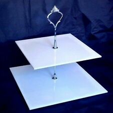 Two Tier Square Cake Stand - White