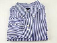Polo Ralph Lauren Dress Shirt 17.5 - 34/35 Blue Striped Oxford Pony