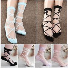 2017 New Women Lady Bowknot Sheer Mesh Knit Frill Trim Transparent Ankle Socks