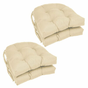 16-inch Solid Twill U-shaped Tufted Chair Cushions (Set of 4) - Natural