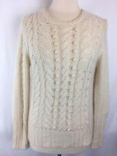 Mariele Waithe M/L Sweater 100% Cashmere Cable Knit Crew Neck IVORY Cream (914)
