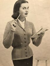 1950s 1940s Fitted Hourglass Jacket Shawl Collar Knitting Pattern Hughes 571 PDF