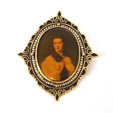 Barbara Dmitrievna Rimsky Portrait Brooch Antique Victorian 14k Gold Seed Pearl