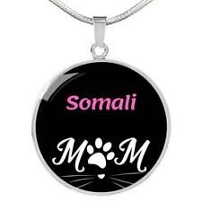 Cat Lover Somali Cat Mom Necklace Circle Pendant Stainless Steel Or 18kGold 18-2