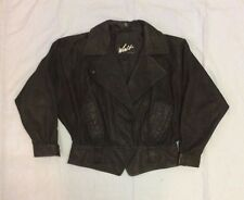 WINLIT Black Leather Womens Biker Motorcycle Short Flare Out Jacket Size Med GUC