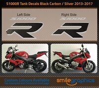 BMW S1000R Tank Decals. 2013-17 - Silver & Black Carbon Stickers