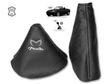 Gear & Handbrake Gaiter For Mazda MX5 MK3 2 Panels Leather Logo White