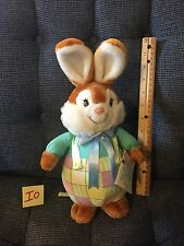 "Stuffed 1989 American Greetings Bloomer Bunny Plaid Cloth Plush 12"" With Tag"