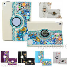 Bling Handmade Crystals 360 Degree Rotating Stand leather tablet Cases for ipad
