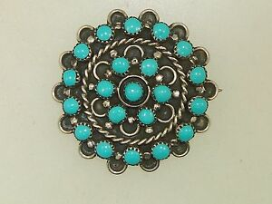VINTAGE OLD PAWN STERLING SILVER & TURQUOISE PIN!