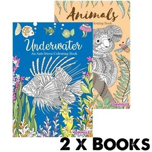 2 x ADULT ANTI-STRESS Colouring Books - ANIMALS & UNDERWATER ANIMALS ALL AGES