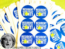 RESIDENT PARKING ONLY YOU C*NT CAR 12 LARGE STICKERS. FUNNY, NOVELTY, SWEARY