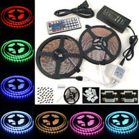 10M/5M SMD 5050/3528 RGB 300/600 LED Strip Adapter 44K IR Remote Waterproof Kit