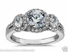 2.15CT BRILLIANT CUT THREE DIAMOND ENGAGEMENT RING  IN 14KT SOLID WHITE GOLD