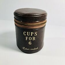 New listing Nested Tumbler Cups For 6 Vintage With Leather Case
