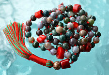 Brilliant Indian Agate & Bamboo Red Coral Hand Knotted Mala Beads Necklace - Att