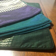 Lot of 6 Cambodian Silk Pillow Shams Teal Green Purple 15 x 15 Inches