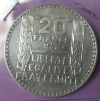 20 Francs Turin 1933 rameaux longs: TTB : pièce de monnaie Française ARGENT N9