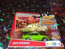 """DISNEY PIXAR CARS """"NICK STICKERS"""" Die-Cast Metal, Scale 1:55, NEW, Mattel"""