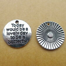 10pcs Word Today Would Be a Lovely Day Charms Tibetan Silver DIY Pendant 20*20mm