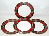 222 Fifth Wexford Red Tartan Plaid Dinner Plates Set of Four (4) New