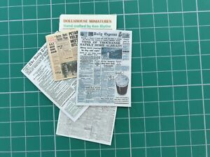 Dolls house 1:12 scale 4 World War 2 Newspapers
