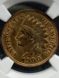 "1900 Indian Head Cent NGC UNC DETAILS ""CLEANED"""