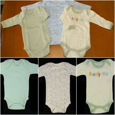 3 New One Piece Long Sleeve Cotton Baby Outfit Newborn 0-3 Months