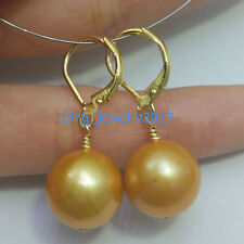 Huge AAA 14-15 mm real natural South Sea golden Pearl Earrings 14K YELLOW GOLD