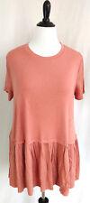 Womens Tunic Top Plus Size 3X 22 24 Super Soft Jersey Knit Mauve Pink Ruffle