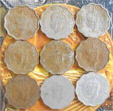 9 Coins YEAR SET -  1 A - George VI 1939 1940 1941 1942 1943 1944 1945 1946 1947