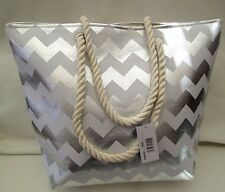 SILVER METALLIC ROPE HANDLES/ BEACH BAG/SHOPPER STYLE/TOTE/HOLIDAYS/TRAVEL
