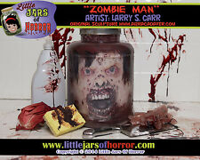"""Zombie Man"" Monster Head in Jar -Halloween/Horror Prop/Decor- Fresh Red Version"