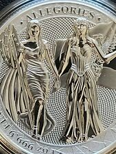 2019 GERMANIA ALLEGORIES COLUMBIA & GERMANY 1 OZ SILVER 5 MARK COIN IN CAPSULE
