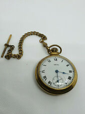 mens vintage smiths gold plated 1950's mechanical pocket watch & chain.#bv.