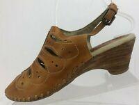 Pikolinos Slingback Sandals Brown Leather Peep Toe Cutout Sandel Womens 38 7.5/8