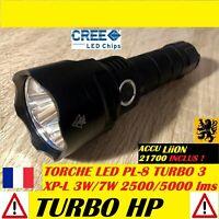 LAMPE TORCHE LED PL-8 3xCREE Turbo 5000Lm 4V 7W 150m MULTIFONCTION IPX8 ANTICHOC
