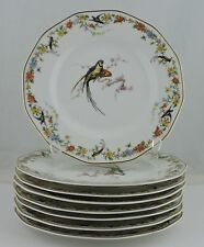 ANTIQUE LIMOGES SALAD PLATE SET 8 ARCADIA SWALLOW PARROT BIRD FLOWER GARLAND