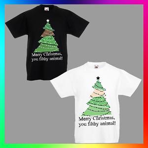 Merry Christmas You Filthy Animal TShirt T-Shirt Tee Kid Children Xmas Tree Cute