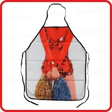 APRON-FUNNY-CHEERLEADER DRESS COSTUME UNIFORM POM-POMS HIGH SCHOOL GIRL LADY-BBQ