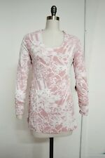 NEW PERUVIAN CONNECTION Avignon Tunic Long Sleeve Floral Shirt Top light pink M