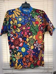 Paladin Floral Cycling Jersey Zip Front Sectional Pockets in Back XL New!