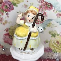 Vtg Napco? Little Bo Peep Girl In Yellow Dress W/ Sheep Easter Figurine Japan